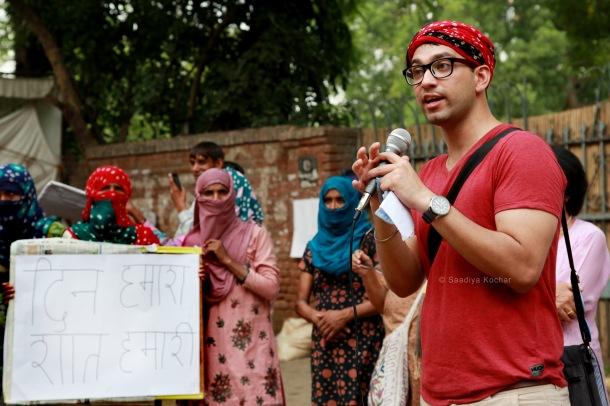 Manak Matiyani, from the youth collective spoke at the protest